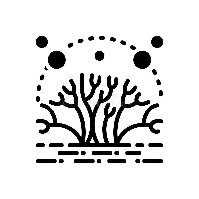 Svart fast symbol för alger, mossa och alg vektor illustrationer