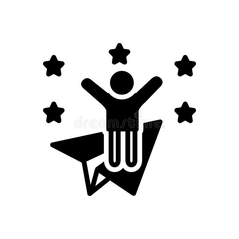 Svart fast symbol för ambitiöst, glat och längtansfullt vektor illustrationer