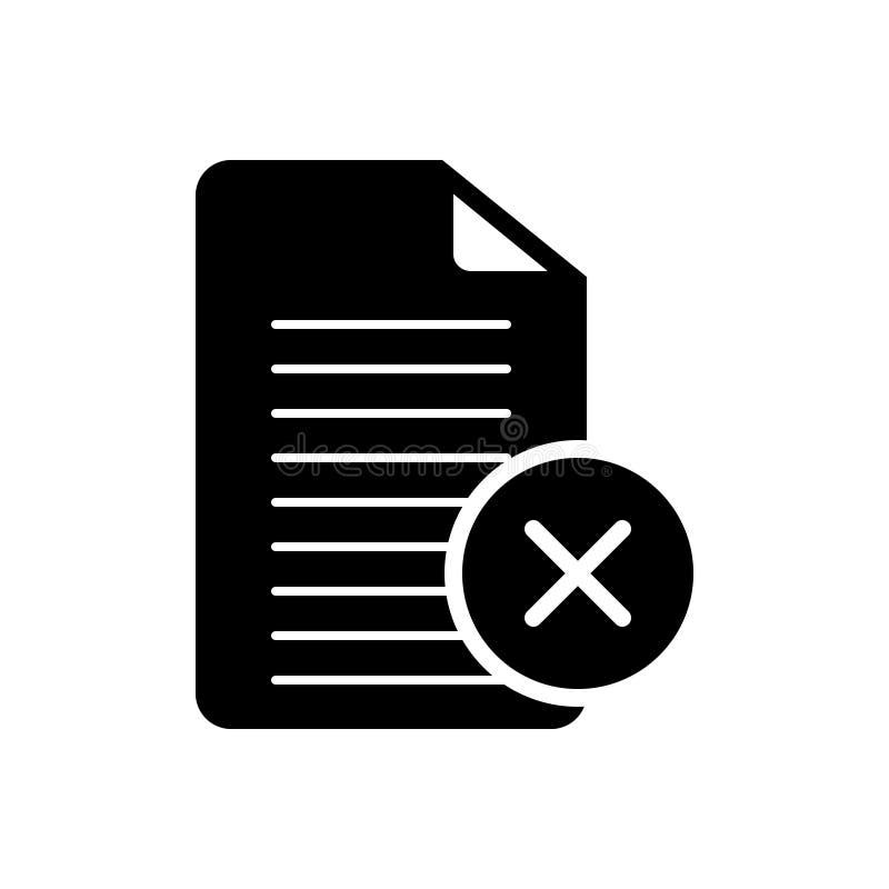 Svart fast symbol för annullering, överenskommelse och dokument vektor illustrationer