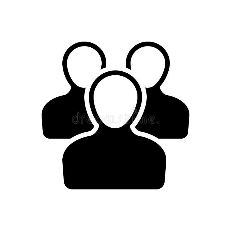 Svart fast symbol för användare, grupp och folk vektor illustrationer
