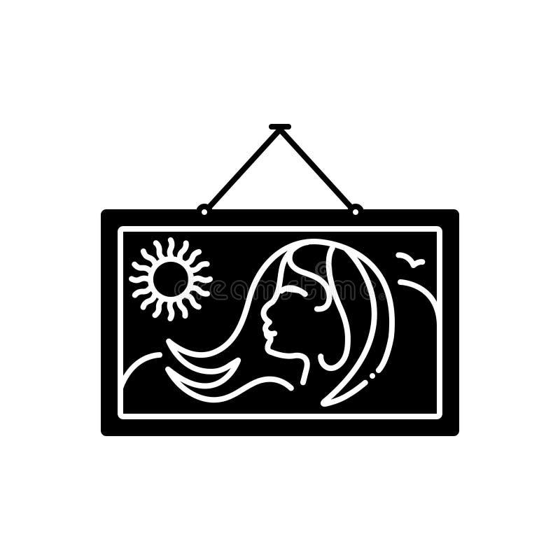 Svart fast symbol för att måla, kvinnor och museum stock illustrationer