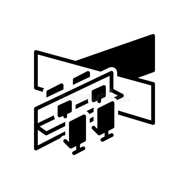 Svart fast symbol för avdelning, uppdelning och sektor vektor illustrationer