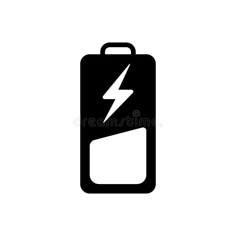 Svart fast symbol för batteri, laddning och bottenläge vektor illustrationer