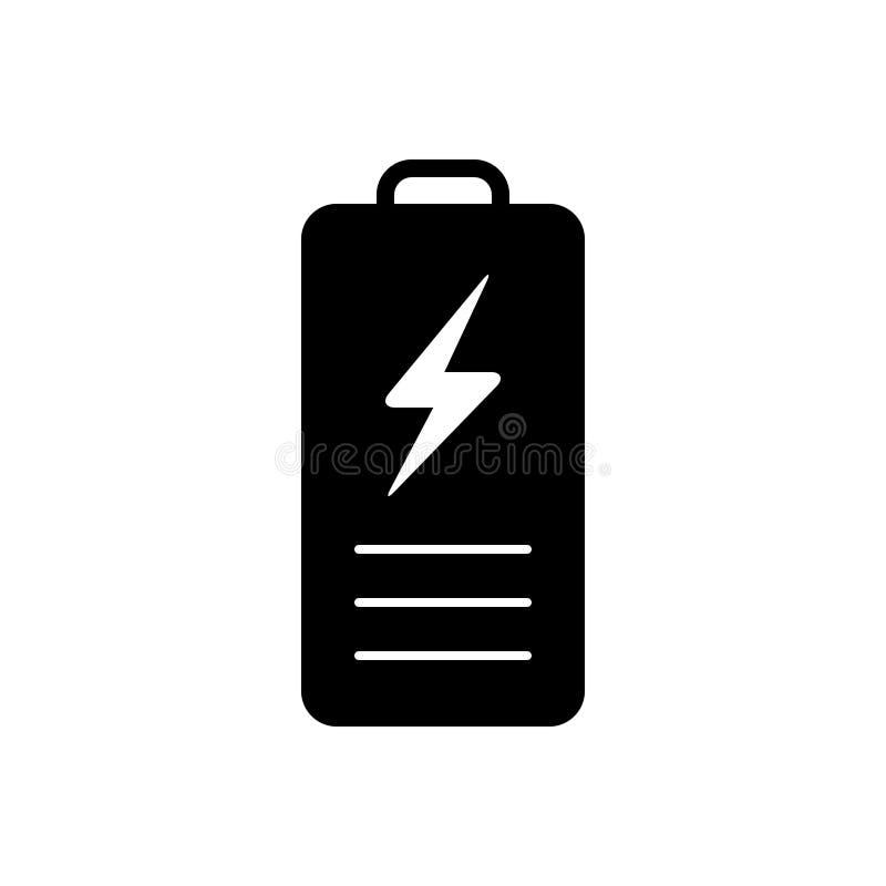 Svart fast symbol f?r batteri, laddning och makt royaltyfri illustrationer
