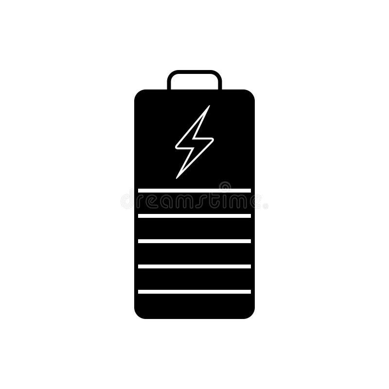 Svart fast symbol för batteriindikator, kraftigt och elektricitet stock illustrationer
