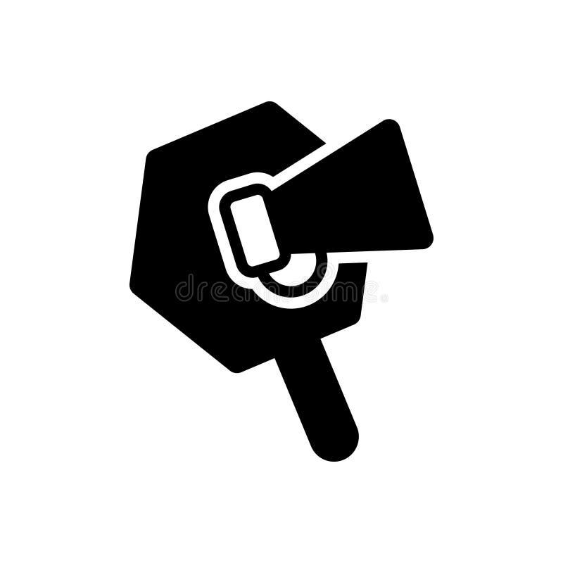 Svart fast symbol för befordran, högtalare och publicitet stock illustrationer