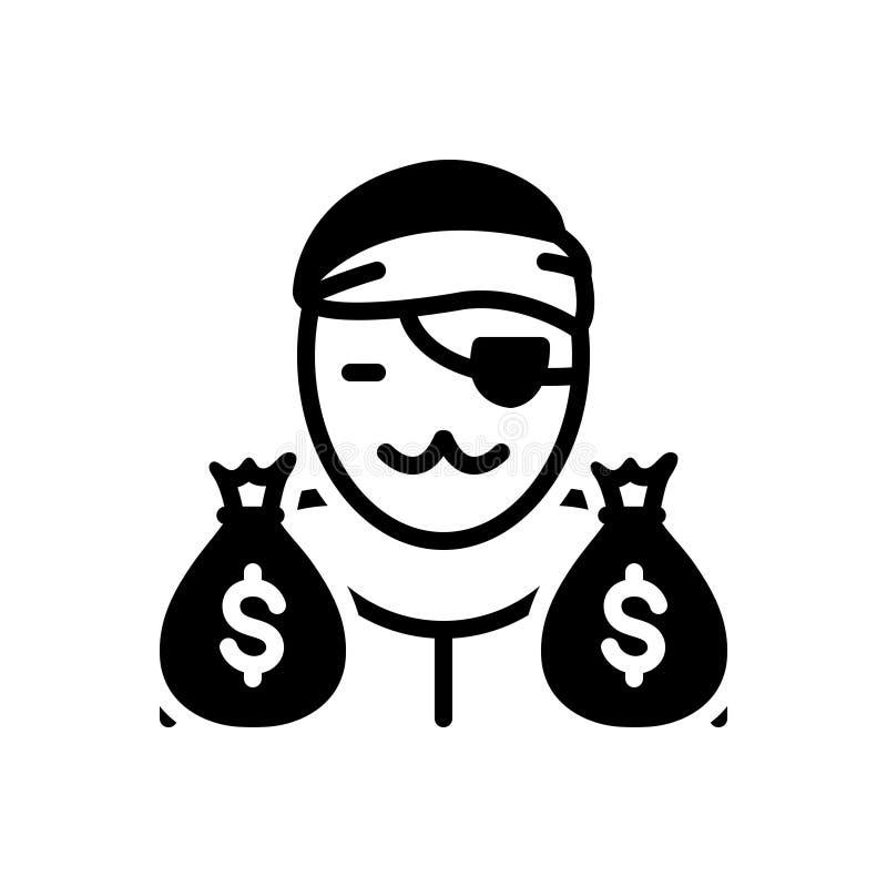 Svart fast symbol för beryktat, gangster och byte vektor illustrationer