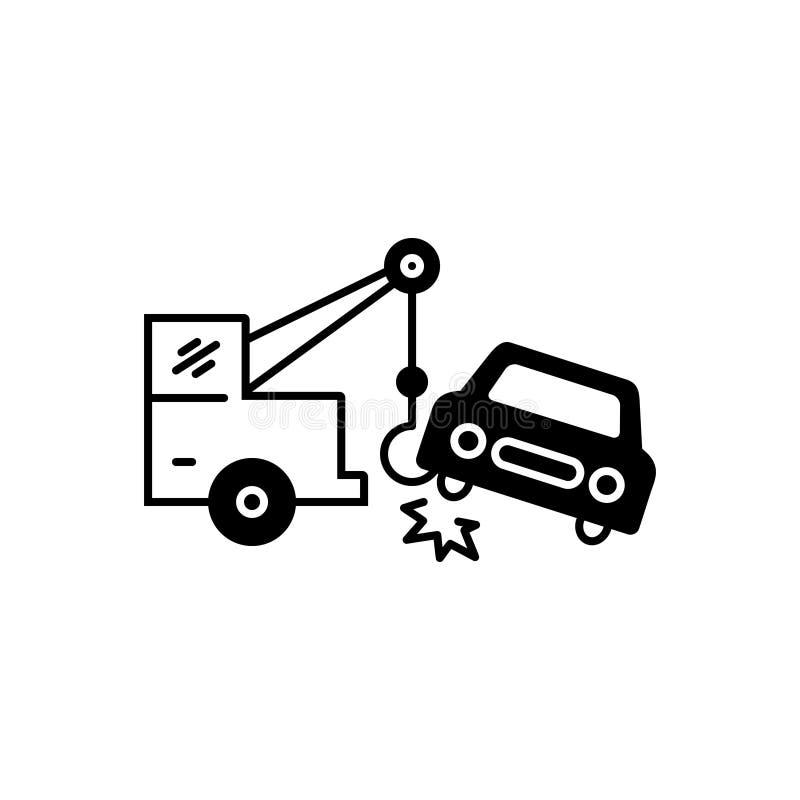 Svart fast symbol för bilatt bogsera, olycka och sammanbrott stock illustrationer