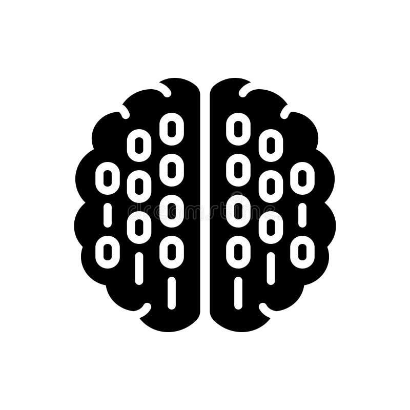 Svart fast symbol för binär mening, processor och hjärna royaltyfri illustrationer