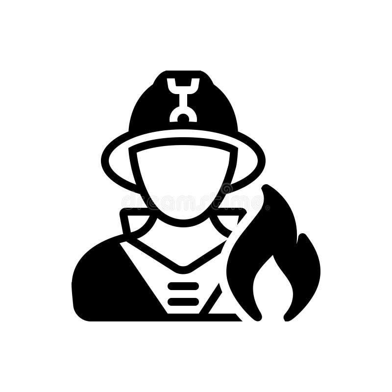 Svart fast symbol för brandman, brandman och säkerhet stock illustrationer