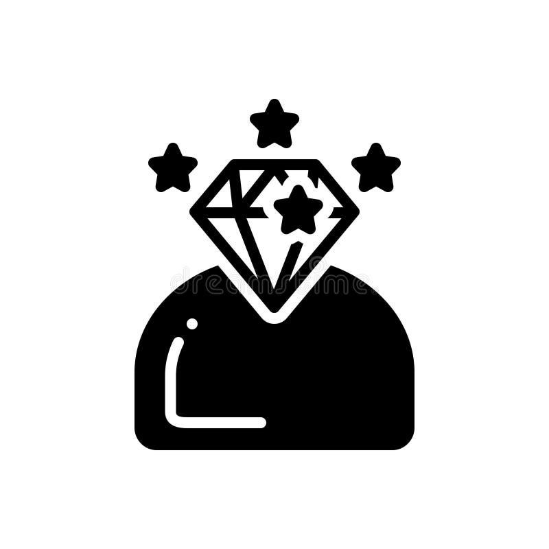 Svart fast symbol för briljant, intelligent och begåvat vektor illustrationer