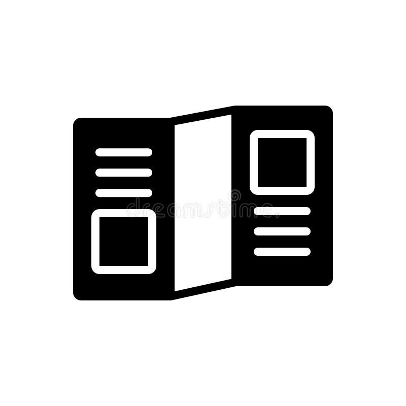 Svart fast symbol för broschyrPromo, mall och annonsering stock illustrationer