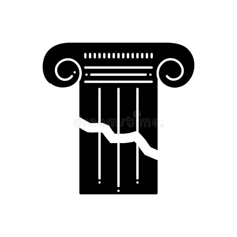 Svart fast symbol för bruten pelare, splittring och plyon vektor illustrationer