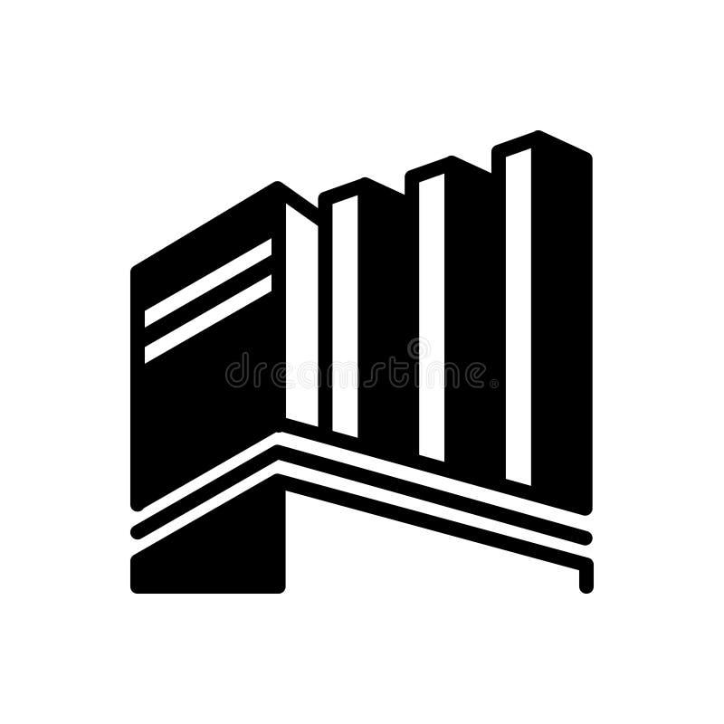 Svart fast symbol för byggande, kontor och företags royaltyfri illustrationer