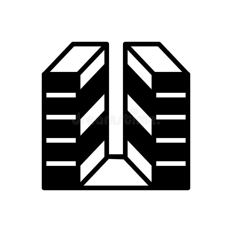 Svart fast symbol för byggande, kontor och företags stock illustrationer