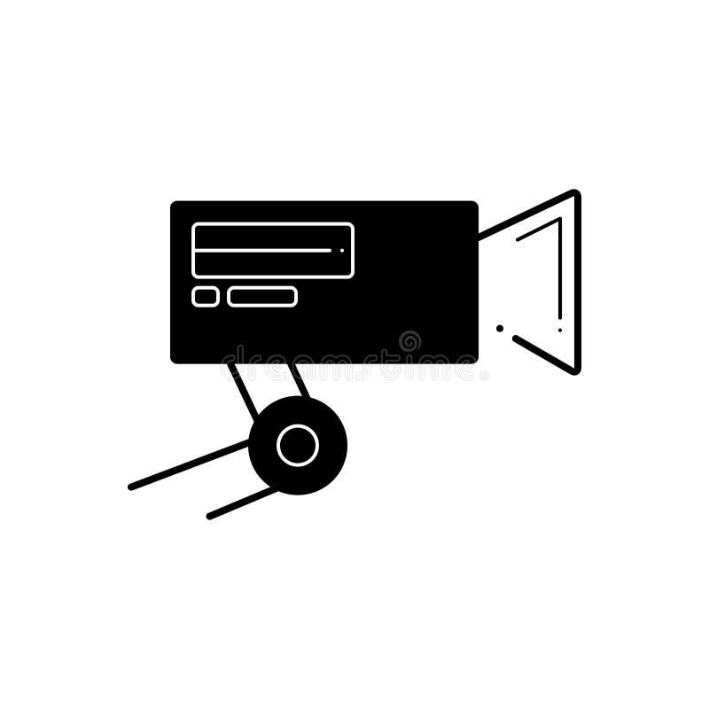 Svart fast symbol för CCTV-kamera, säkerhet och museum royaltyfri illustrationer