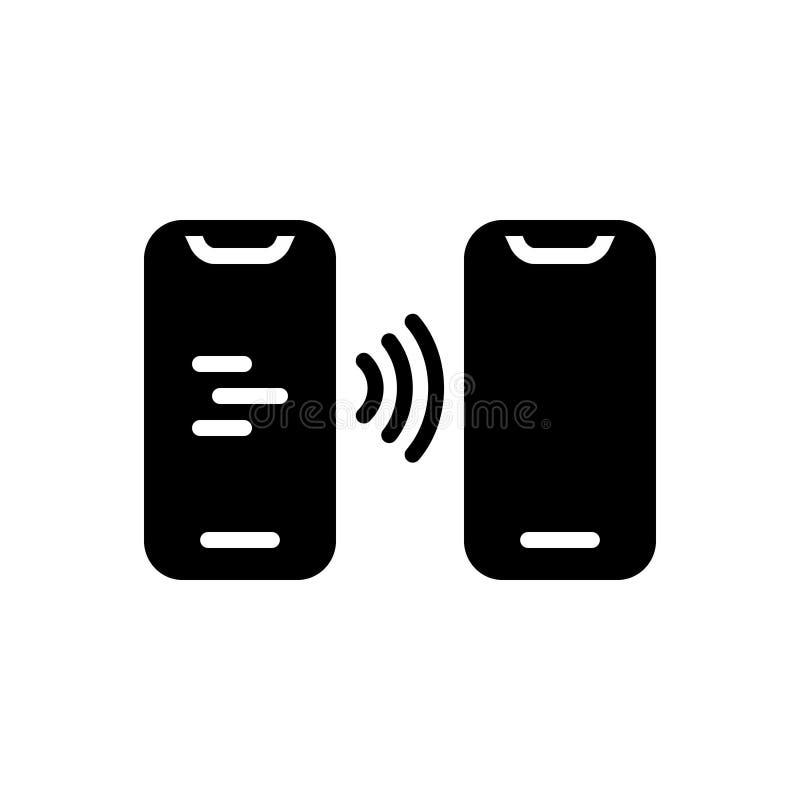 Svart fast symbol för Contactless, smartphone och digitalt vektor illustrationer