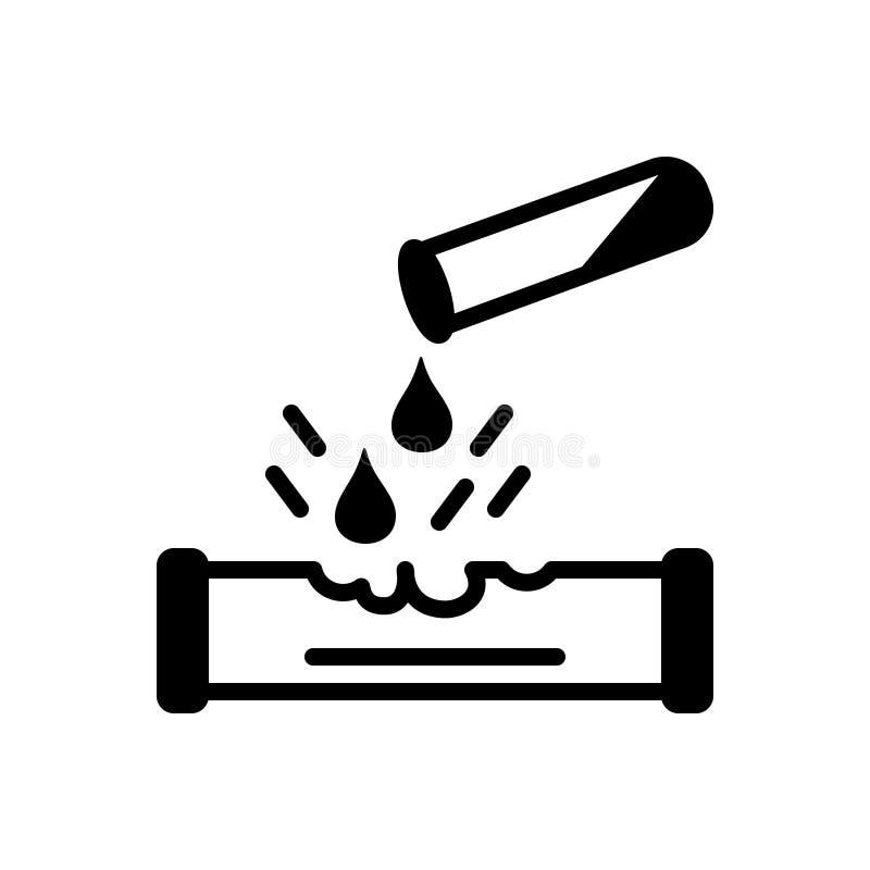 Svart fast symbol för Corrosiveness, droppe och skadligt royaltyfri illustrationer