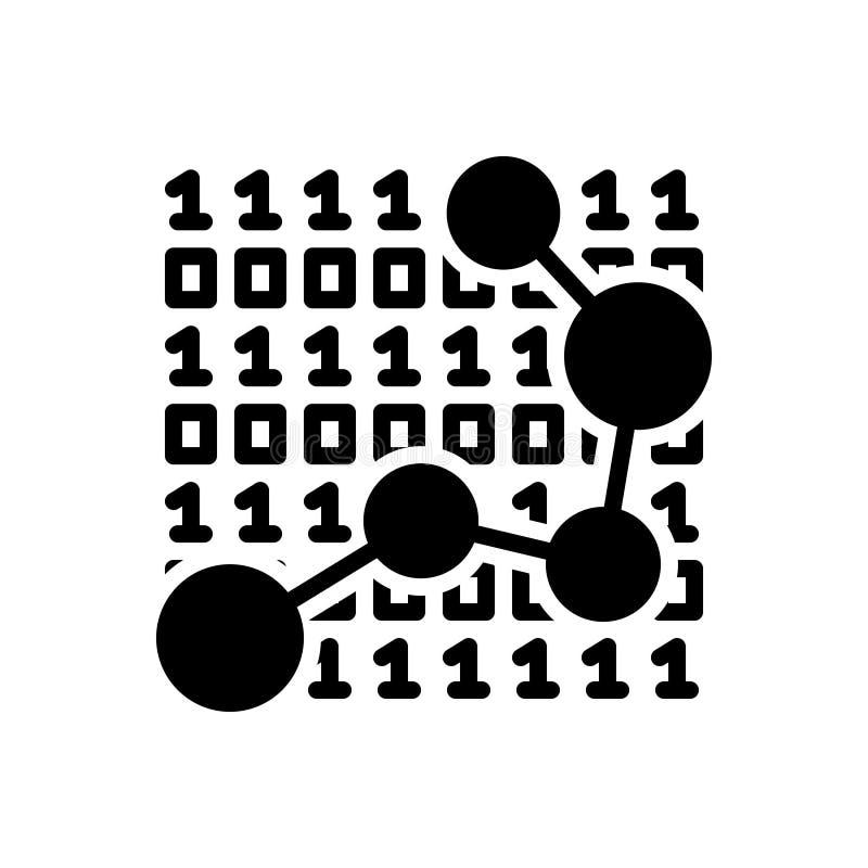 Svart fast symbol för data, diagram och utveckling vektor illustrationer