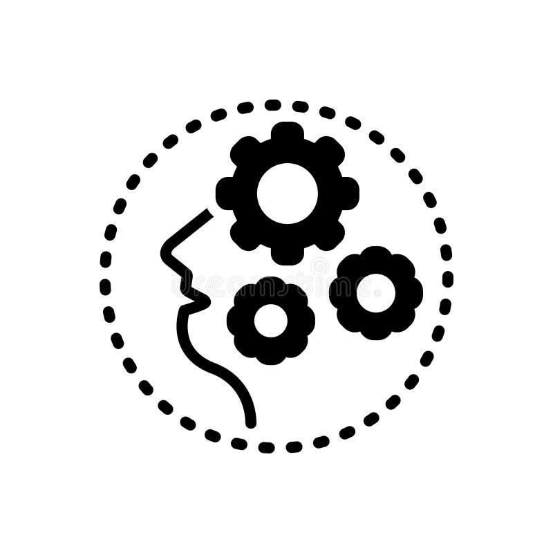 Svart fast symbol för demens, galenskap och amok stock illustrationer