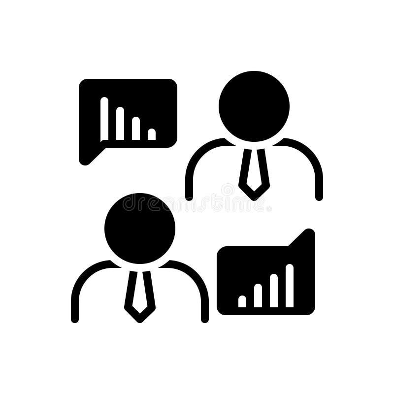 Svart fast symbol för den affärsmanTalking About Data analys, kommunikationen och diagrammet royaltyfri illustrationer