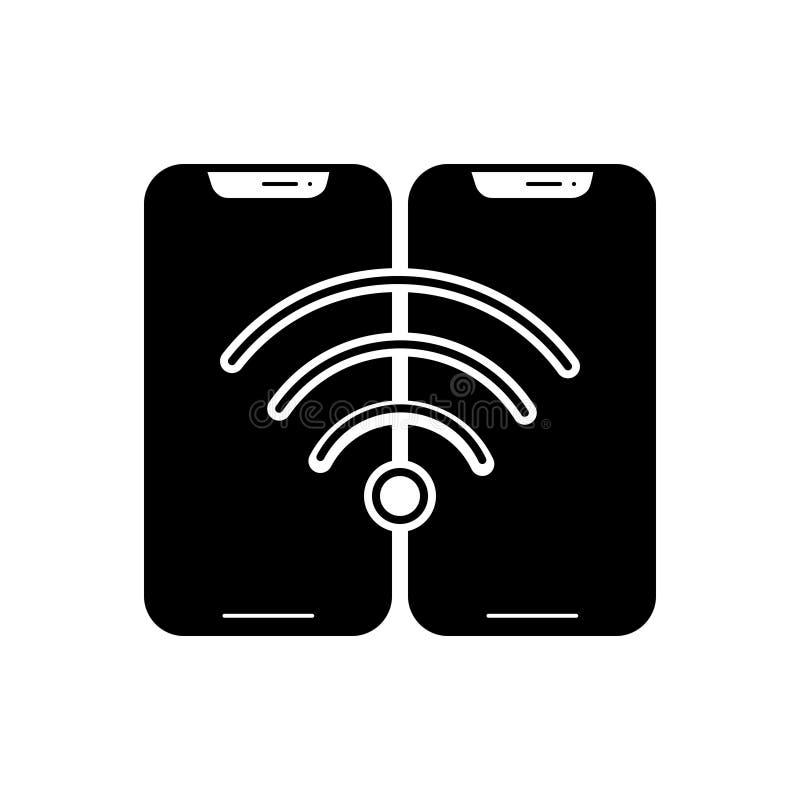 Svart fast symbol för den Wifi anslutning, radion och internet vektor illustrationer