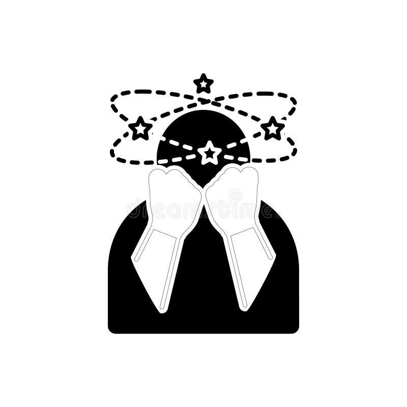 Svart fast symbol för Depressed, svindel och läkarundersökning vektor illustrationer