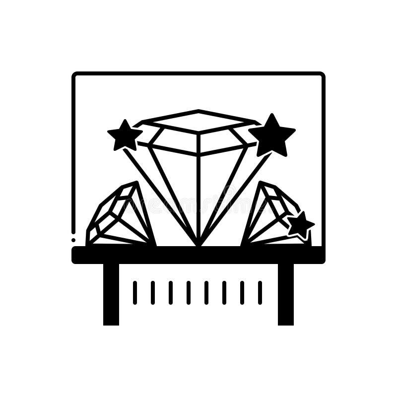 Svart fast symbol för diamantutställning, tomtebloss och shiner royaltyfri illustrationer