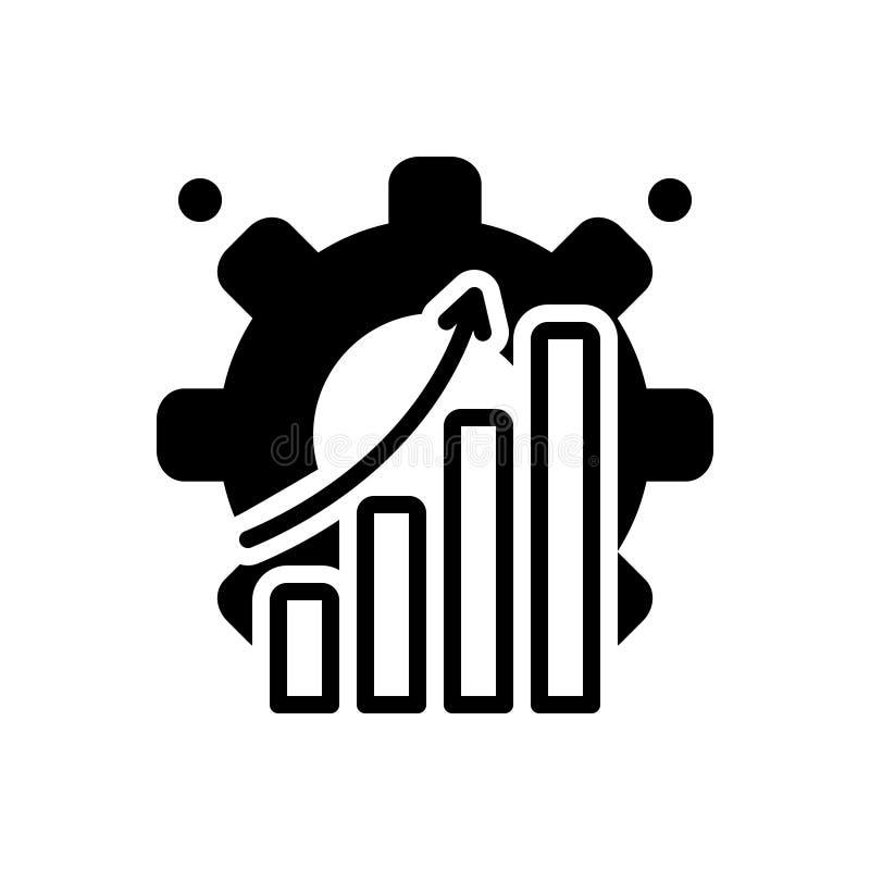 Svart fast symbol för effektivt, kapacitet och produktivitet vektor illustrationer