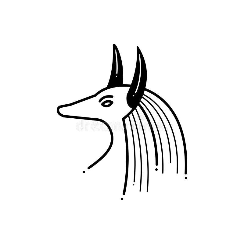 Svart fast symbol för egyptier, gud och museum royaltyfri illustrationer