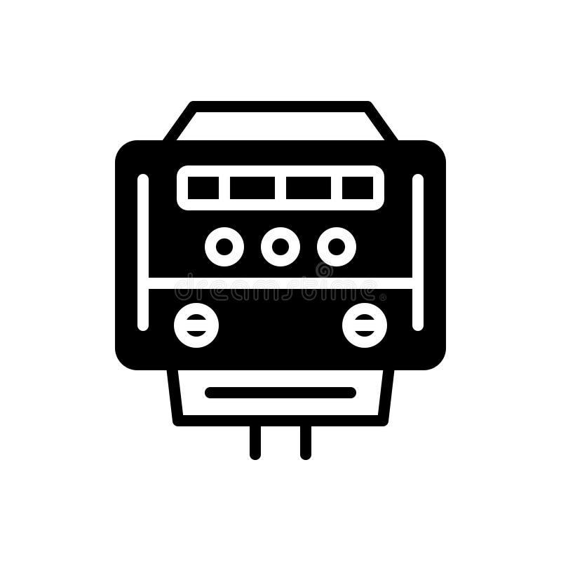 Svart fast symbol för elektrisk meter, meter och kW stock illustrationer