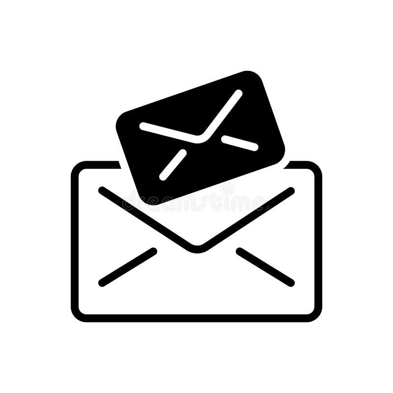 Svart fast symbol för Email, bokstav och meddelanden royaltyfri illustrationer