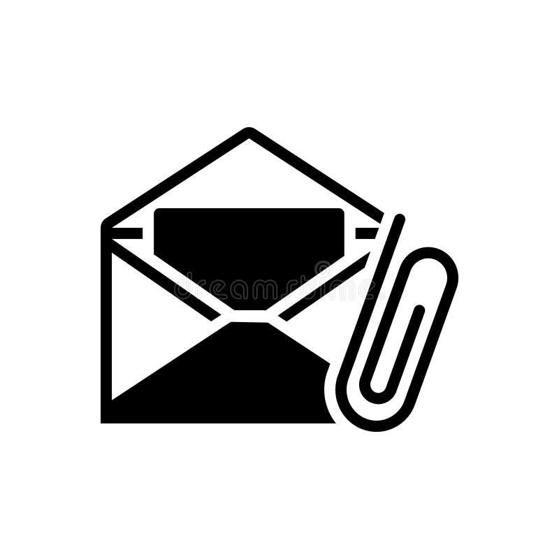 Svart fast symbol för Emailtillbehör, bilaga och gem vektor illustrationer