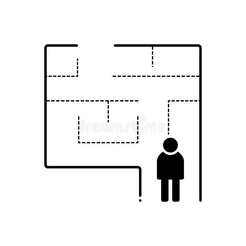 Svart fast symbol för evakuering, plan och utgång royaltyfri illustrationer