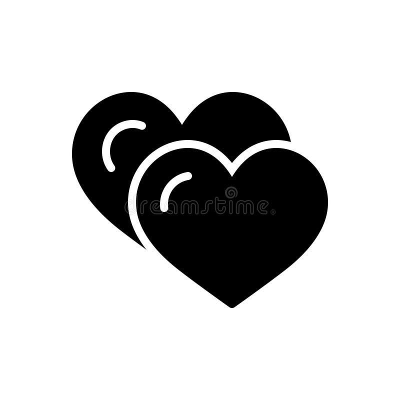 Svart fast symbol för förälskelse, vänskapsmatch och kamratskap vektor illustrationer