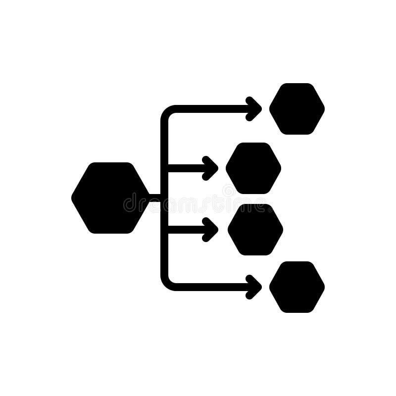 Svart fast symbol för fördelningskanaler, fördelning och anslutning royaltyfri illustrationer