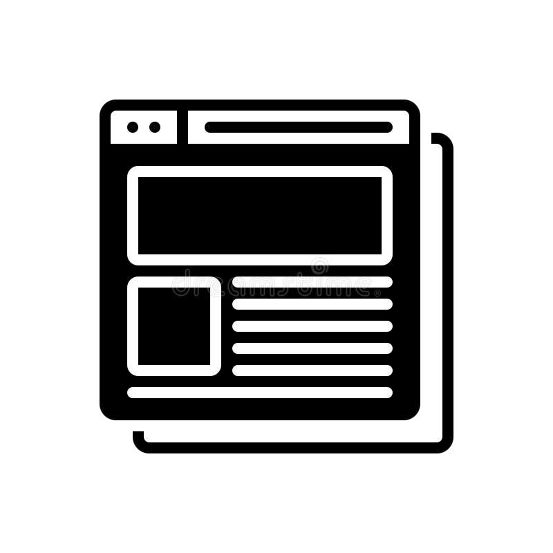 Svart fast symbol för företags Website, titel och rubrik stock illustrationer