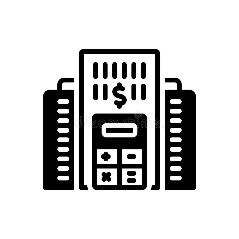 Svart fast symbol för företagsbudget, redovisning och analys stock illustrationer