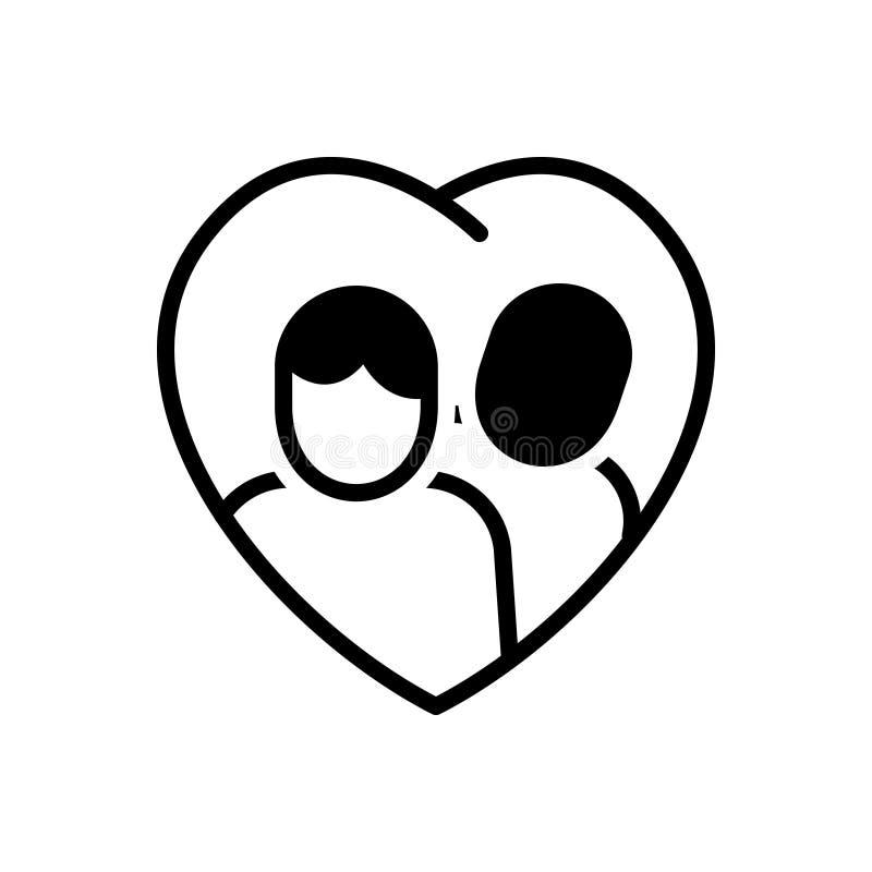 Svart fast symbol för förhållande, par och duett stock illustrationer