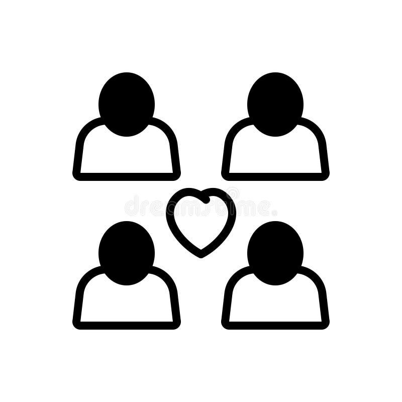Svart fast symbol för förhållande, par och duett vektor illustrationer