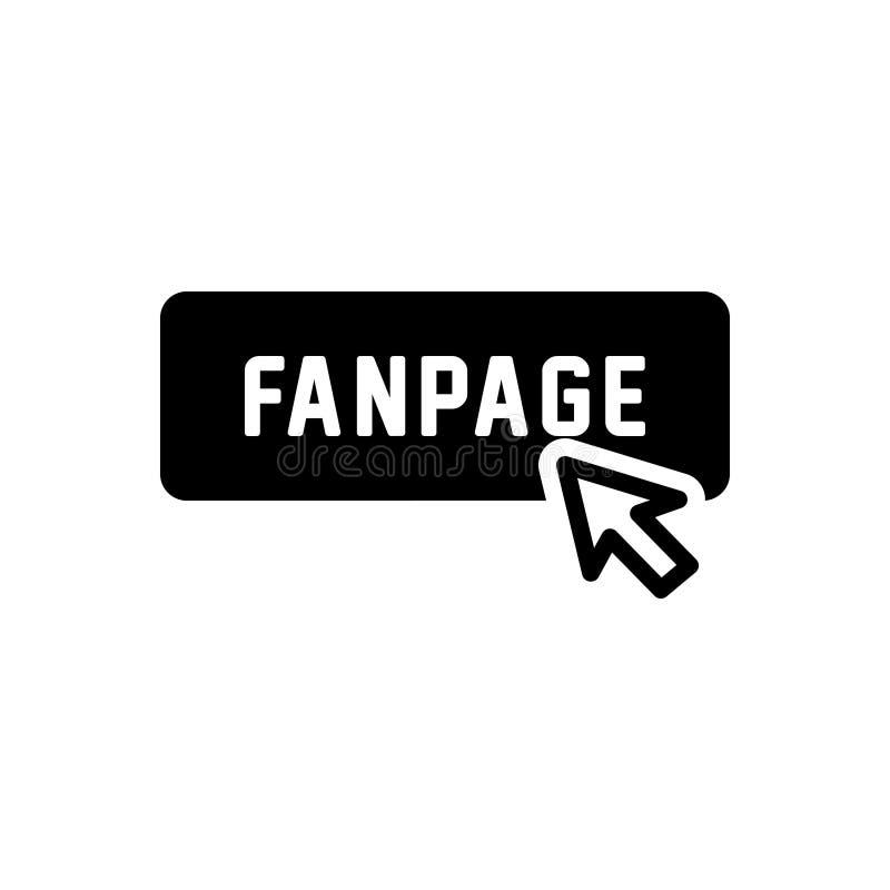 Svart fast symbol för Fanpage, knapp och klick stock illustrationer