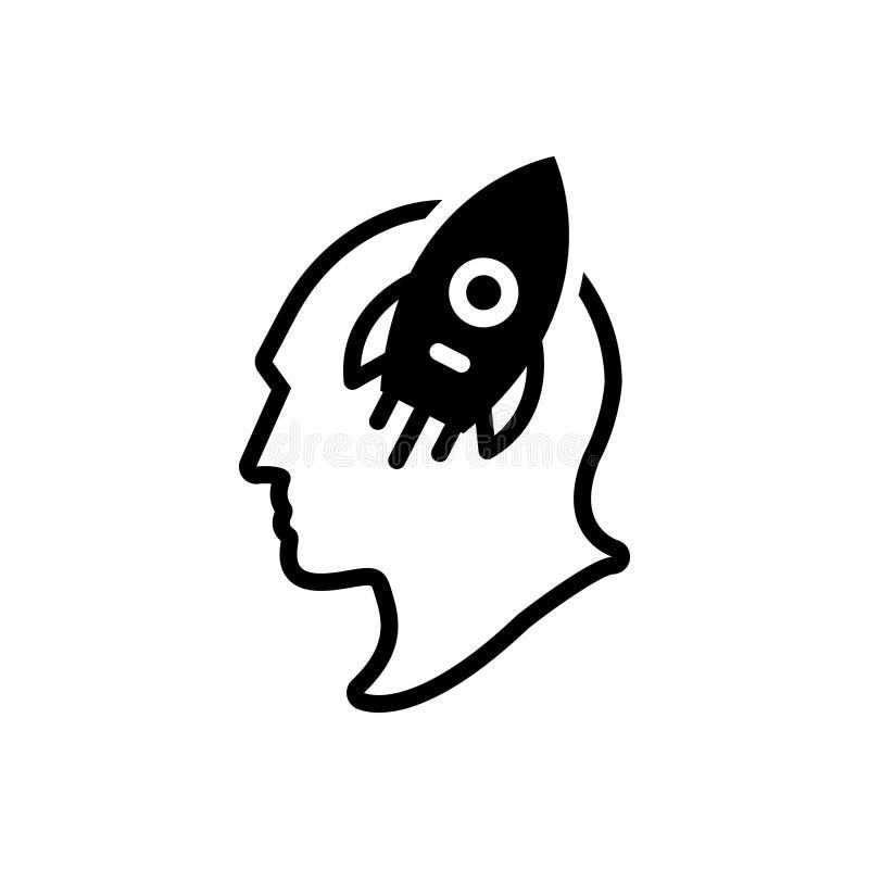 Svart fast symbol för fantasi, fantasirikt och fakultet royaltyfri illustrationer