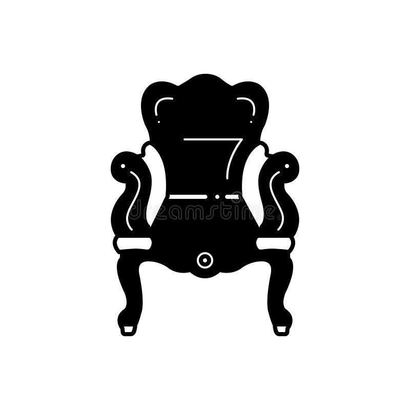 Svart fast symbol för forntida, stol och sockel royaltyfri illustrationer