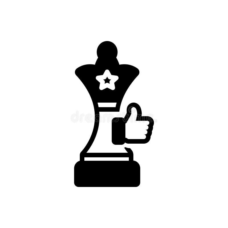 Svart fast symbol för framgångstrategi, schack och final royaltyfri illustrationer