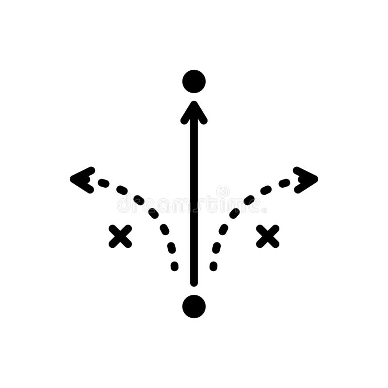 Svart fast symbol för framgångtaktik, analys och marknadsföring stock illustrationer