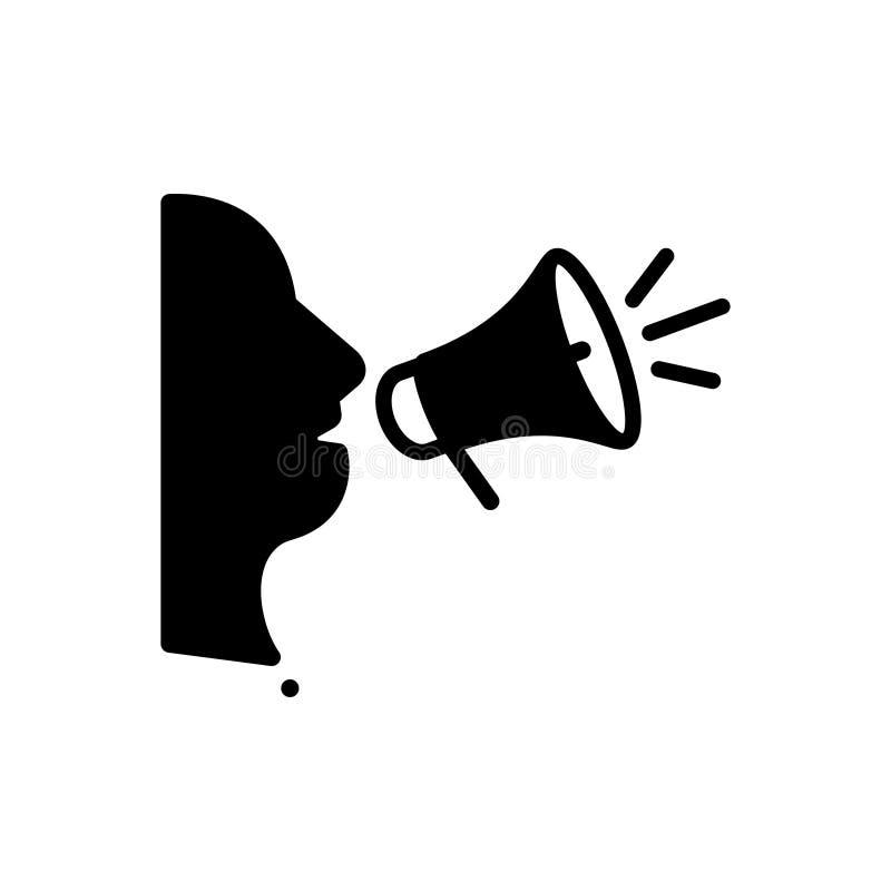 Svart fast symbol för frispråkigt, åsikt och bråkigt stock illustrationer