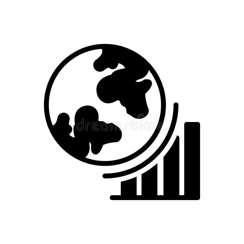 Svart fast symbol för Globel framsteg, tillväxt och att uppnå vektor illustrationer