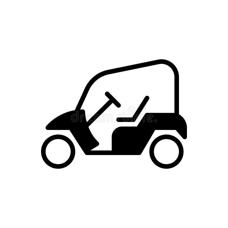 Svart fast symbol för golfvagn som öppnas och som är elektrisk vektor illustrationer