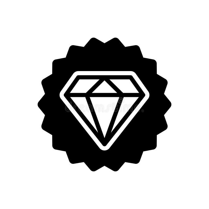 Svart fast symbol för högvärdig kvalitet, pantbank och diamant vektor illustrationer