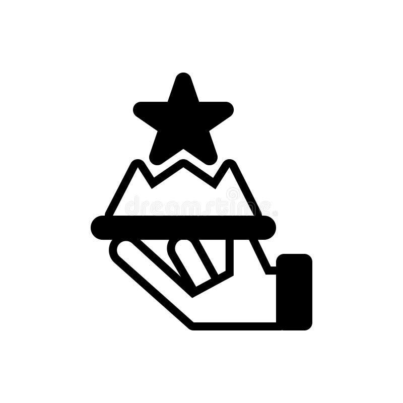 Svart fast symbol för högvärdig service, behörighet och erfarenhet vektor illustrationer